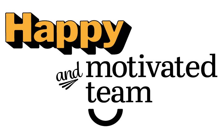 happy and motivated team small