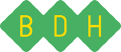 BDH logo - three green diamonds joined together with yellow capital B, D and H inside