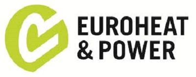 Euroheat & Power logo - green circle with tick inside and bold capital letters with company name